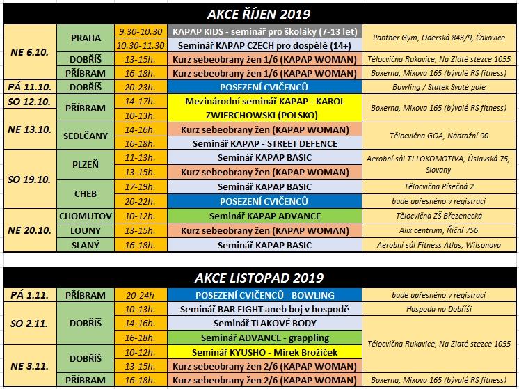 Kalendář akcí říjen-listopad 2019