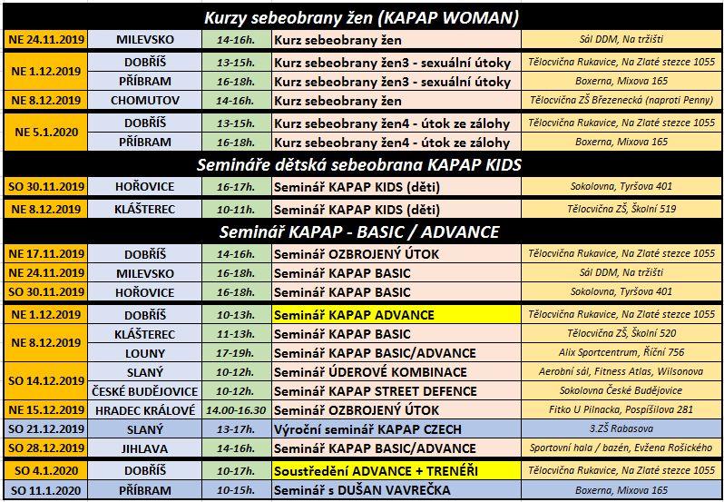 Seminář KAPAP CZECH (listopad 2019 - leden 2020)