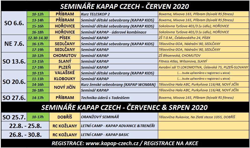 Kalendář seminářů KAPAP CZECH pro měsíc červen 2020