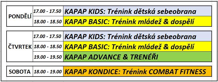 Plán KAPAP ONLINE tréninků (březen 2021)