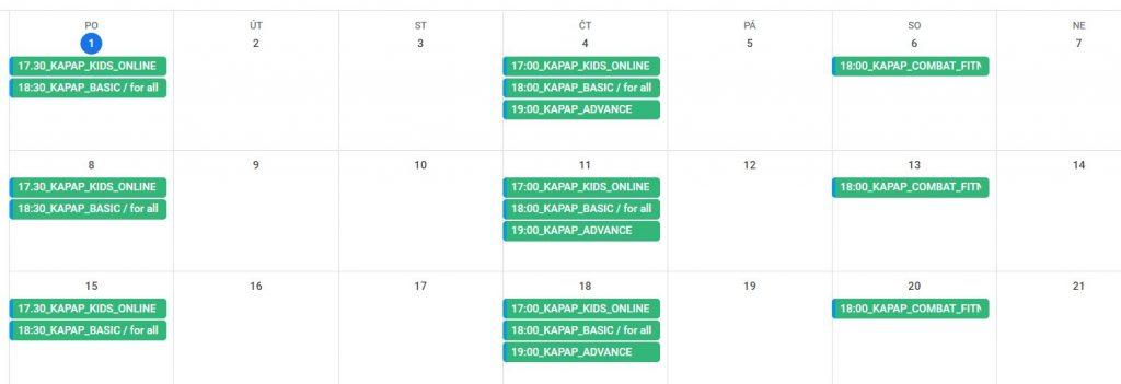 Kalendář tréninků KAPAP CZECH během lockdownu (březen 2021)
